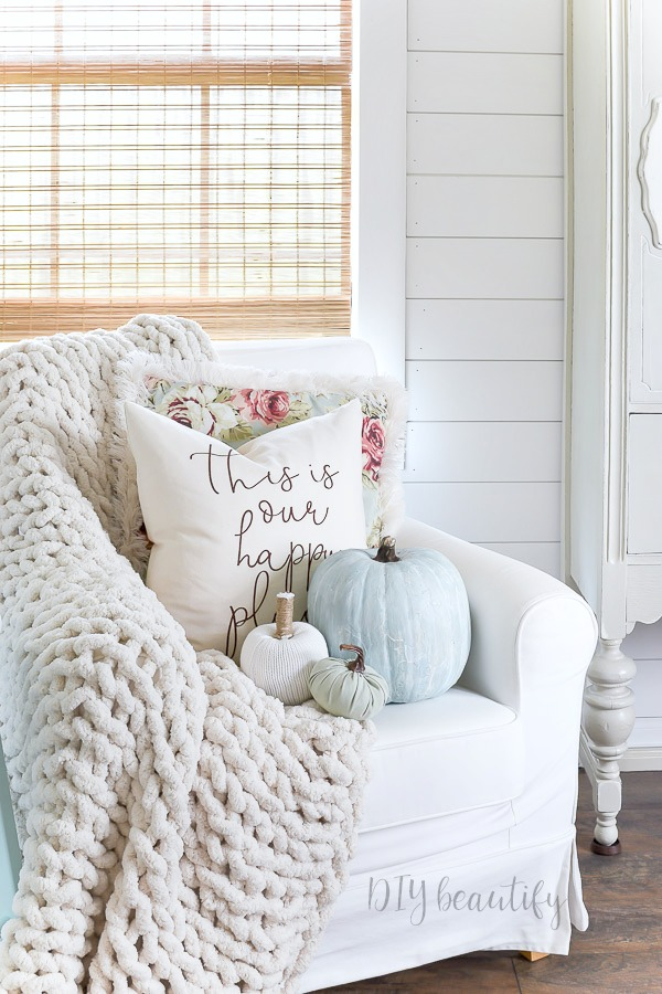 cozy chair with chunky throw