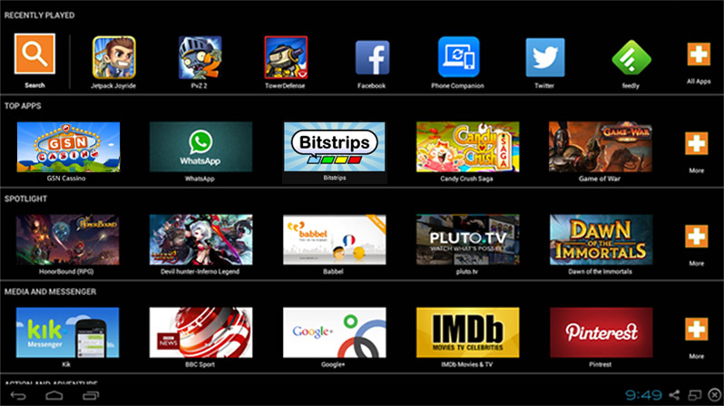 Beranda BlueStacks: Emulator Android pada PC