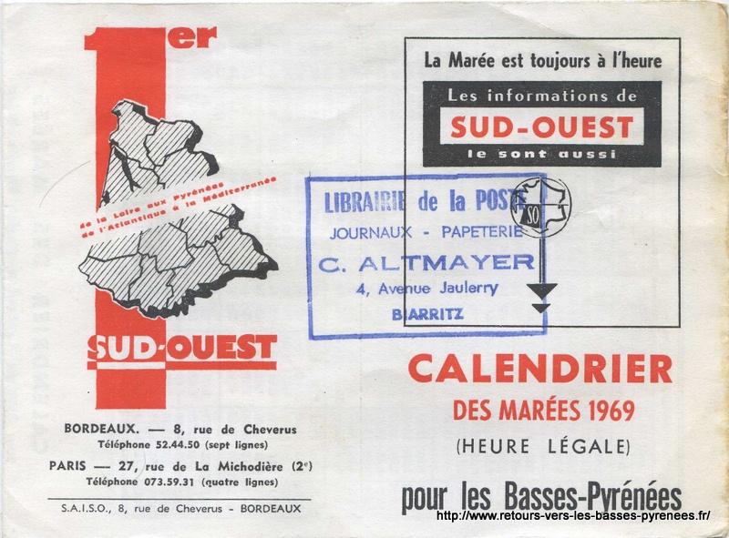 Calendrier Maree Biarritz.Retours Vers Les Basses Pyrenees Calendrier Des Marees 1969