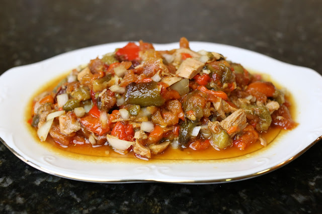Ensalada de pimientos y tomates asados