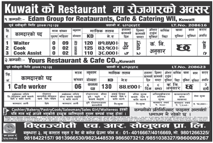 Jobs in Kuwait for Nepali, Salary Rs 44,900