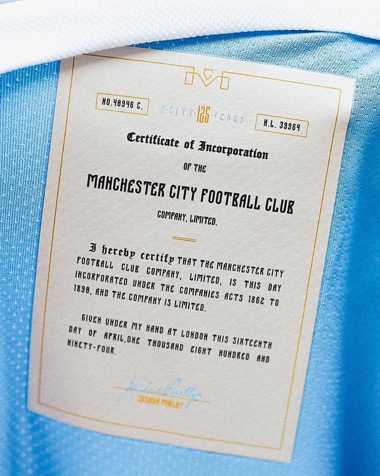 MANCHESTER CITY FC 125 YEARS CREST OFFICIALLY LICENSED PRODUCT A3