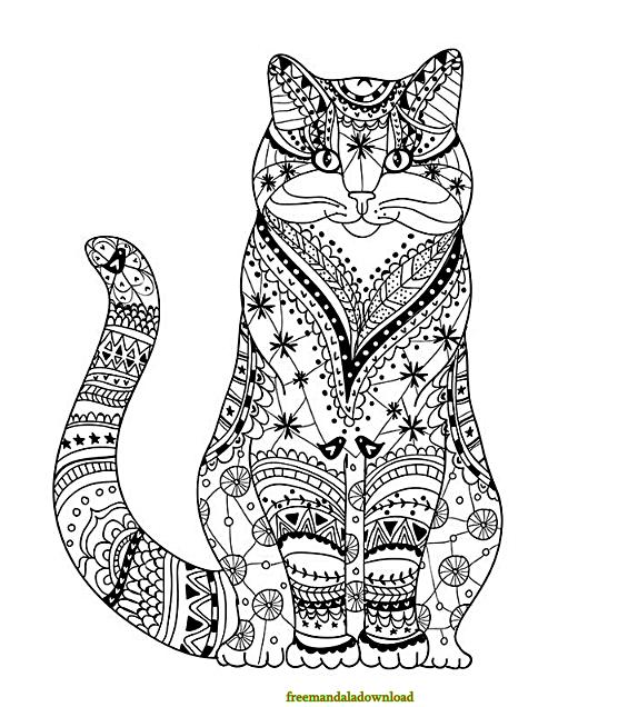 ausmalbild katzen mandala  kinder ausmalbilder