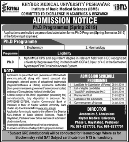 Admission Notice For Phd programmes Spring 2019 (IBMS)