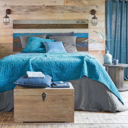Painted Wood Plank Headboard Idea