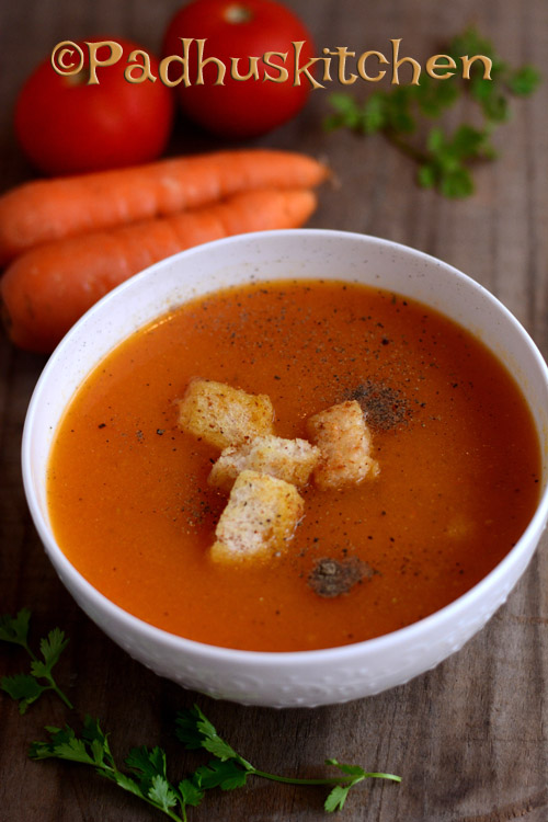carrot tomato bottlegourd soup using soup maker