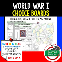 American History Digital Learning, American History Google, American History Choice Boards, World War I