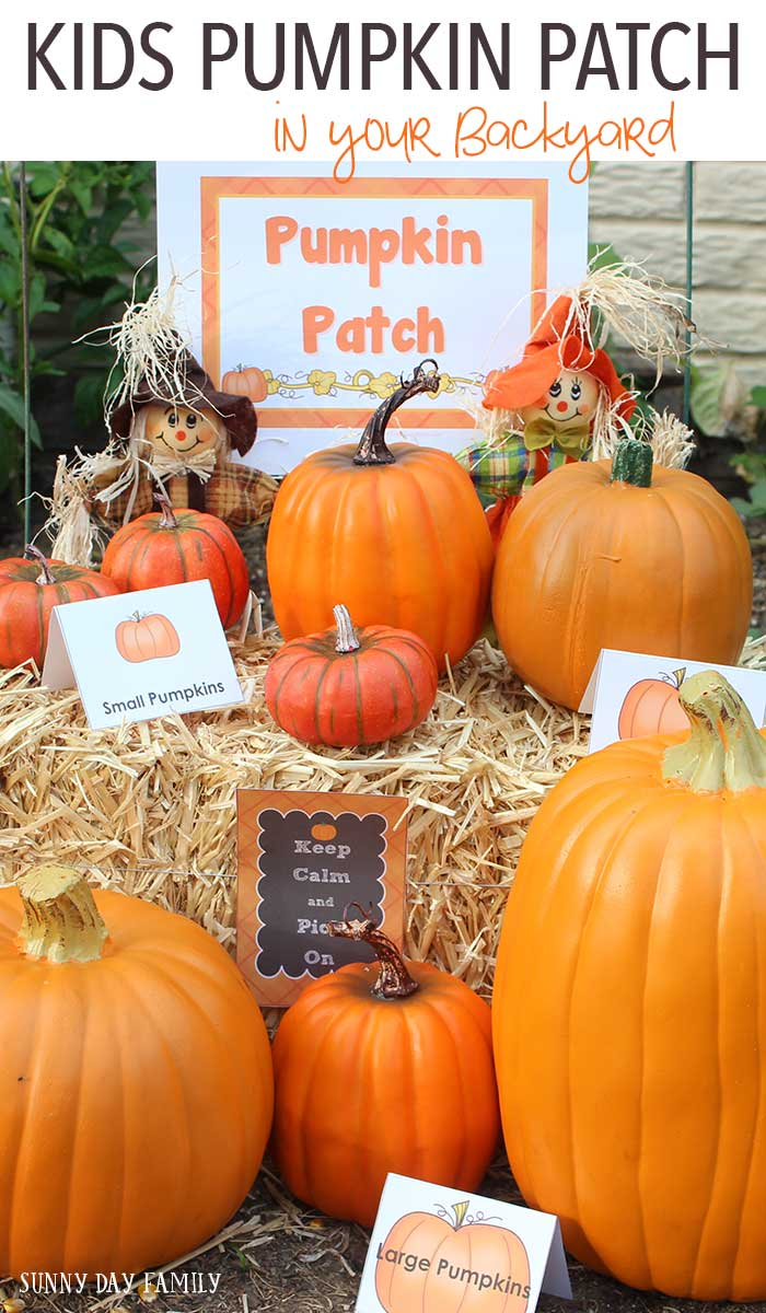 Create a pretend play pumpkin patch in your backyard - perfect for a pumpkin theme birthday party or a Fall playdate! Kids will love playing and working in their very own pumpkin patch, and it's a great Fall preschool activity too.