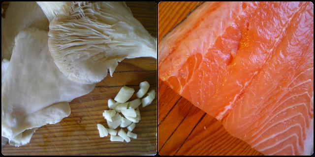 Setas y lomo de salmón