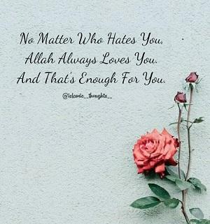Peu importe qui vous déteste, Allah vous aime toujours et c'est assez pour vous.