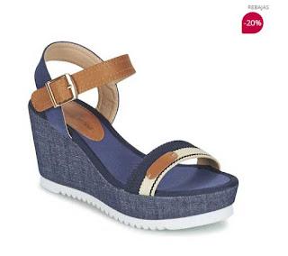 sandalias de cuña color azul de Moony Modd modelo Geuzialiane