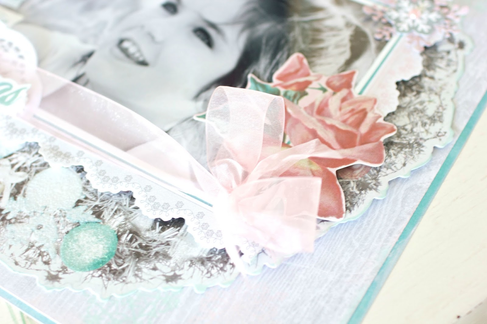 time to create kaisercraft silver bells white christmas layout