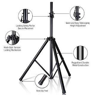 Pyle Speaker Stand - Adjustable Tripod for Sound Equipments