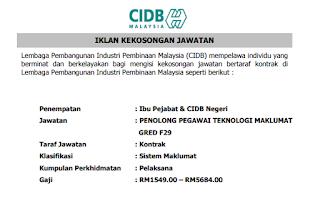 Penolong Pegawai Teknologi Maklumat CIDB Kerja Kosong