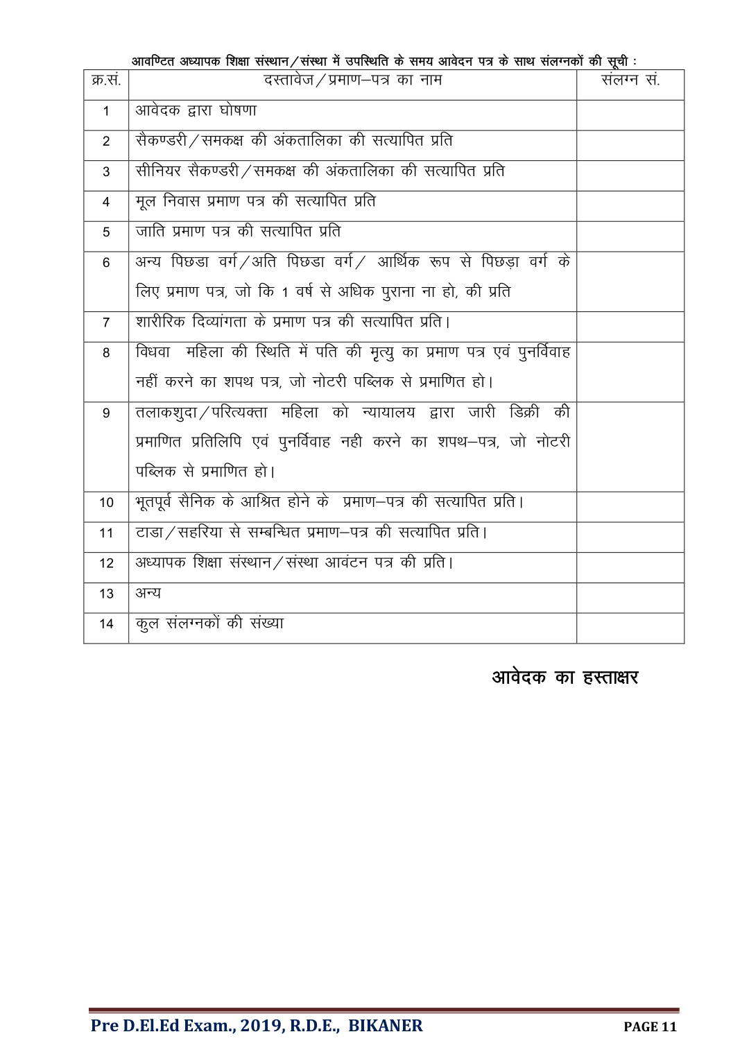 Bstc necessary documents list