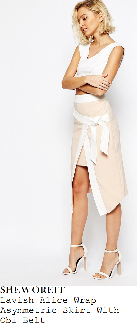 perrie-edwards-nude-peach-and-white-tie-detail-wrap-front-asymmetric-skirt-little-mix-graham-norton