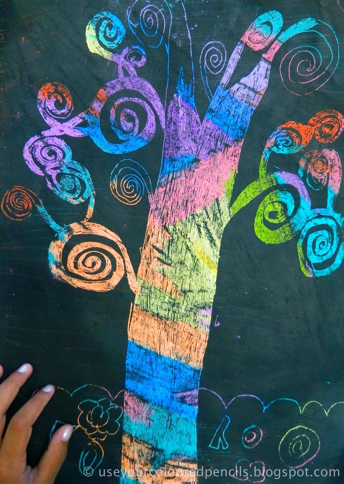 Use Your Coloured Pencils Klimt Scratch Art