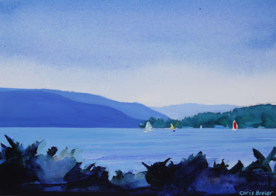 Acrylic painting of Candandaigua lake