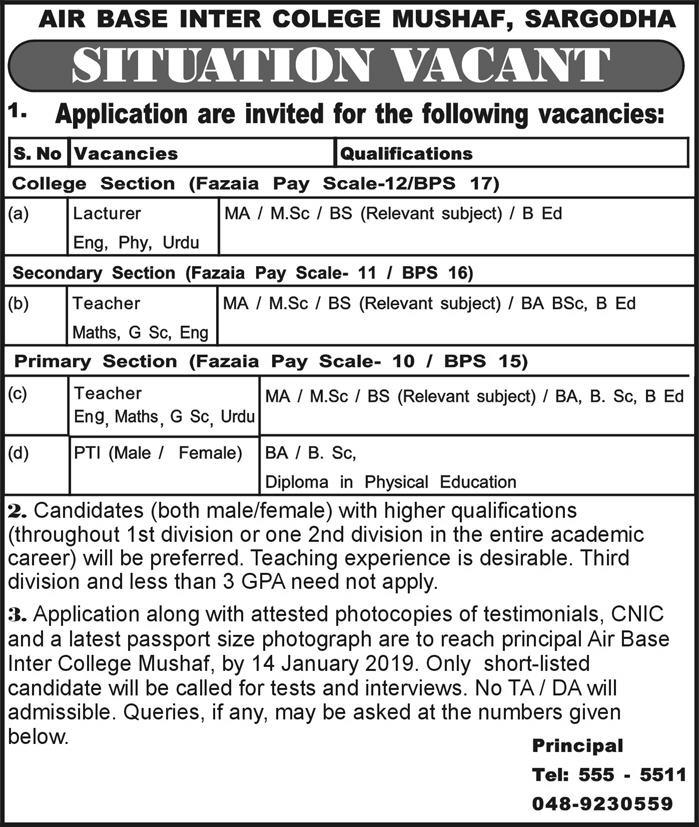 Jobs in Fazaia Education System - Pakistan Air Force Jobs of