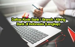 Daftar Kode Bank / Branch / Kliring Bank di Indonesia (Lengkap)