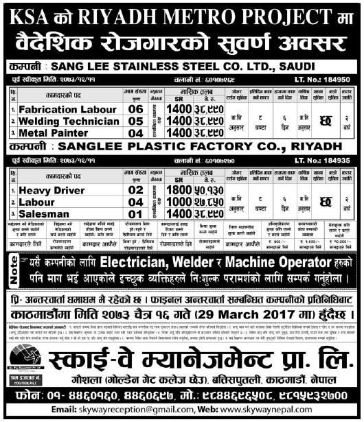 Jobs in Saudi Arabia for Nepali, Salary Rs 50,130