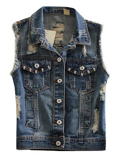 Sleeveless Denim Jacket with rivet for women