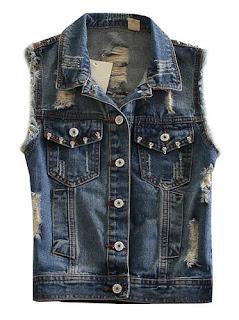 Sleeveless Denim Jacket with rivet for women
