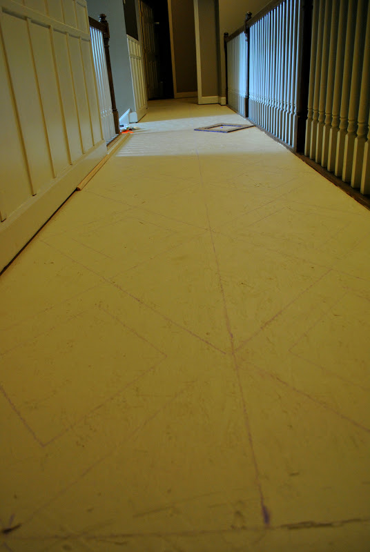 Amazing Grays Diamond Pattern Painted Plywood Floor