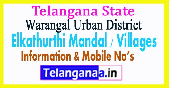 Elkathurthi Mandals Villages in Warangal Urban District Telangana