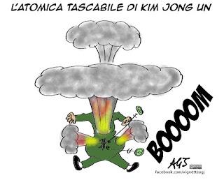 Kim jong un, atomica, minacce, corea, vignetta, satira