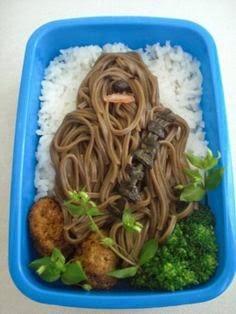 comida formada en un hombre con mucho pelo