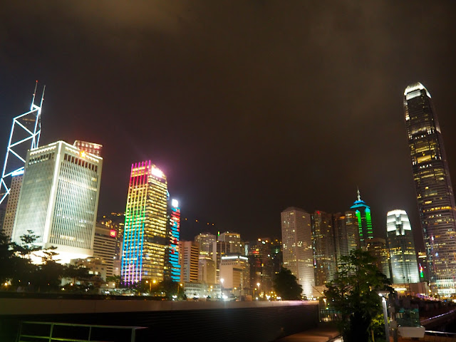 Central skyscrapers at night, Hong Kong