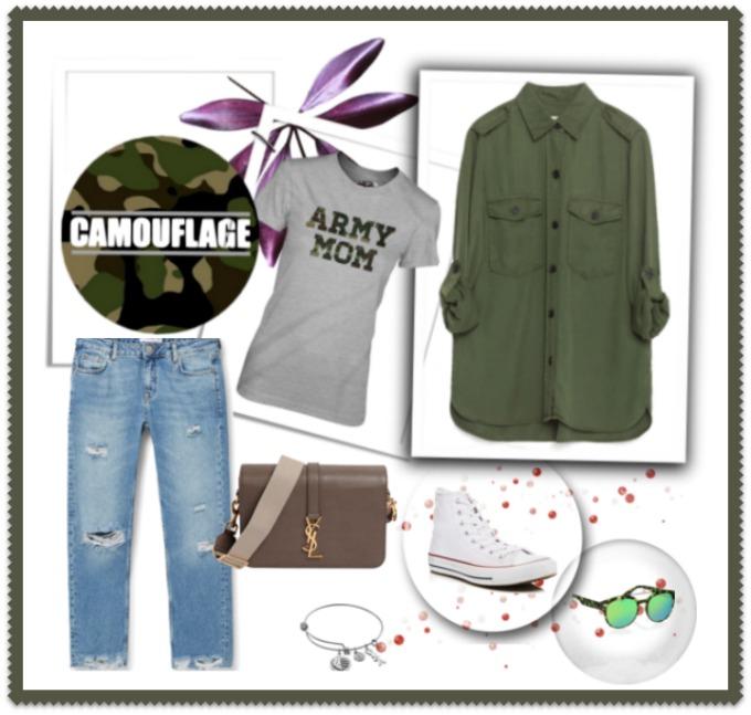 look militar con basicos como tejanos converse y camisa militar zara