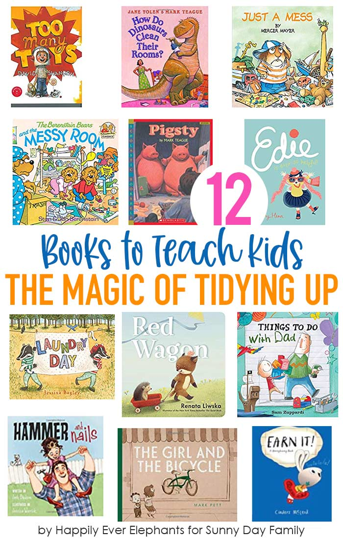 Kids books about cleaning, chores, and organizing that will teach your kids the magic of tidying up! Marie Kondo would love these kids books which help children learn the value of a clean house & how to help around the house. Genius kids book recommendations from a librarian! #kidsbooks #tidyup #mariekondo #cleanhouse