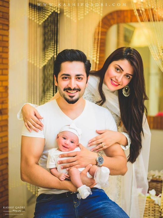 Danish Taimoor with his wife Ayeza Khan and daughter Hoorain