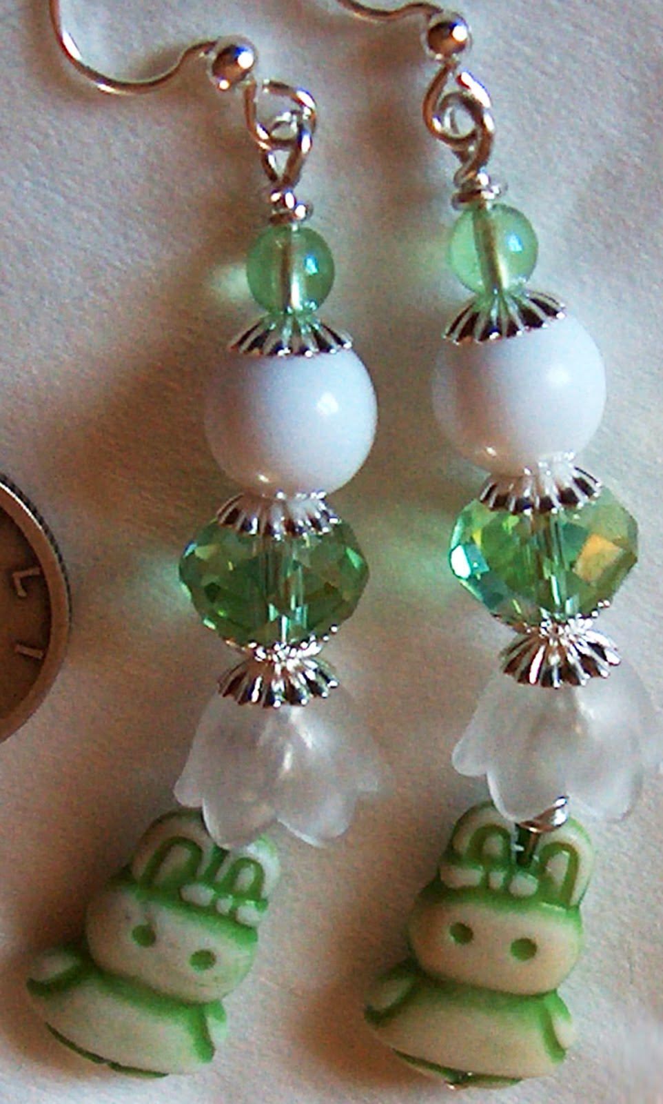 Green Rabbit Earrings
