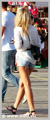 Girl in jean mini shorts on the street