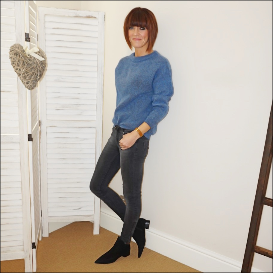 my midlife fashion, acne studios dramatic jumper, zara skinny jeans, isabel marant etoile studded belt, amazon find ark leather ankle boots