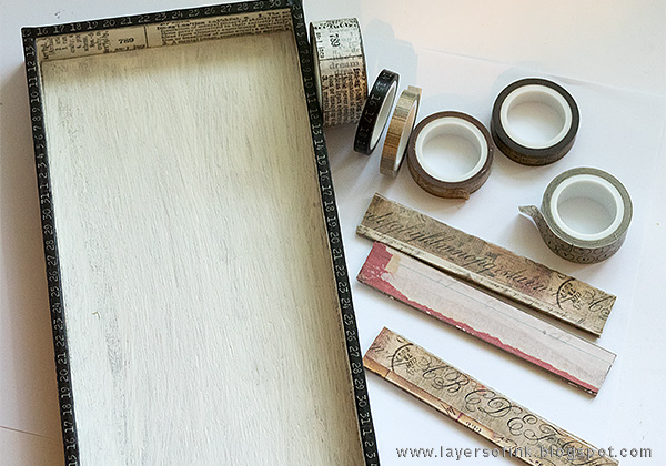 Layers of ink - Miniature Bookshelf with Handmade Books Tutorial by Anna-Karin with Tim Holtz Vignette Tray