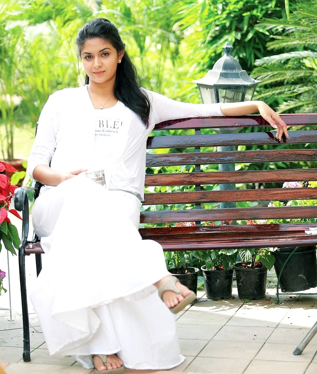Keerthy Suresh in White Dress with Cute and Awesome Lovely Smile