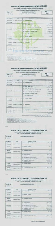 Date Sheet of Matric BSEK Karachi Board, SSC Date Sheet 2018 Part 1, 2, Introduction of BSEK Karachi Board, Date Sheet, BSEK, SSC, Matric, Karachi, Pakistan