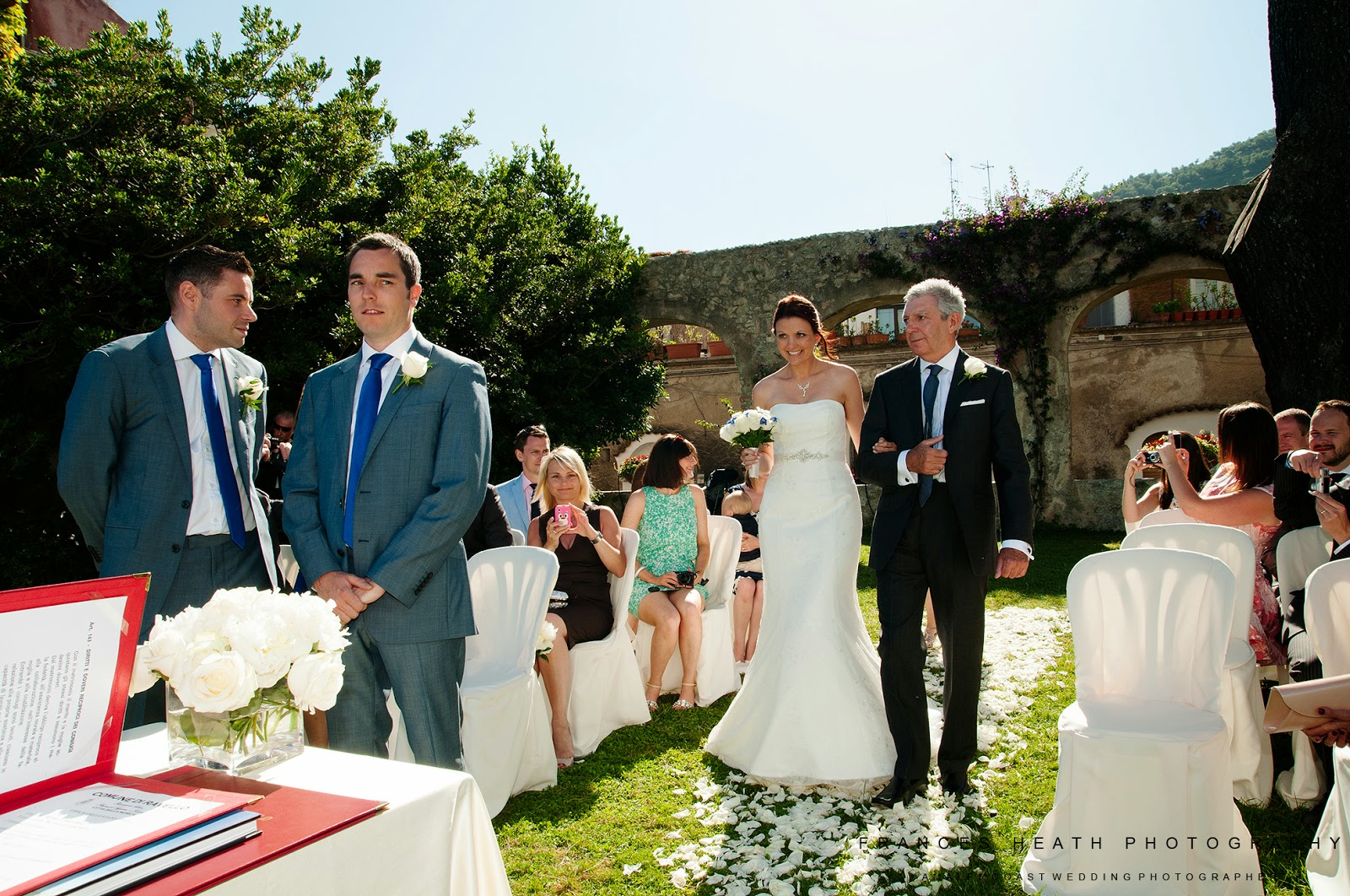 Bride walking down the aisle in Ravello town hall ceremony