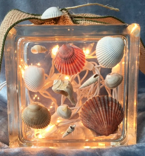 Seashell Glass Block with Christmas Lights