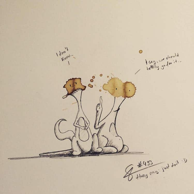 Artist Creates Cute Little Monsters Out Of Coffee Stains
