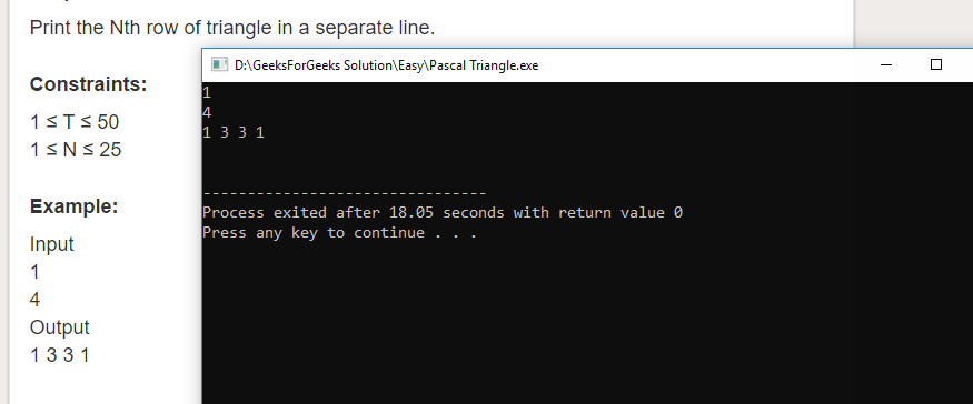 """Geeksforgeeks Solution For """" Pascal Triangle """""""