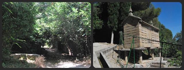 Comienzo del camino a la gruta de Cuadros y horreo