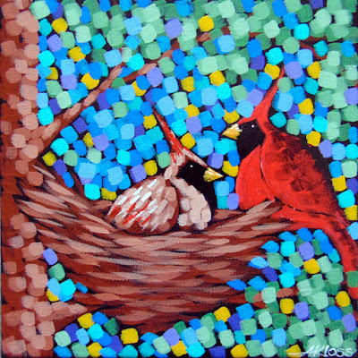 nesting cardinals painting acrylic on canvas by artist aaron kloss, cardinal painting, nesting birds painting, pointillism, spring painting, duluth mn artist