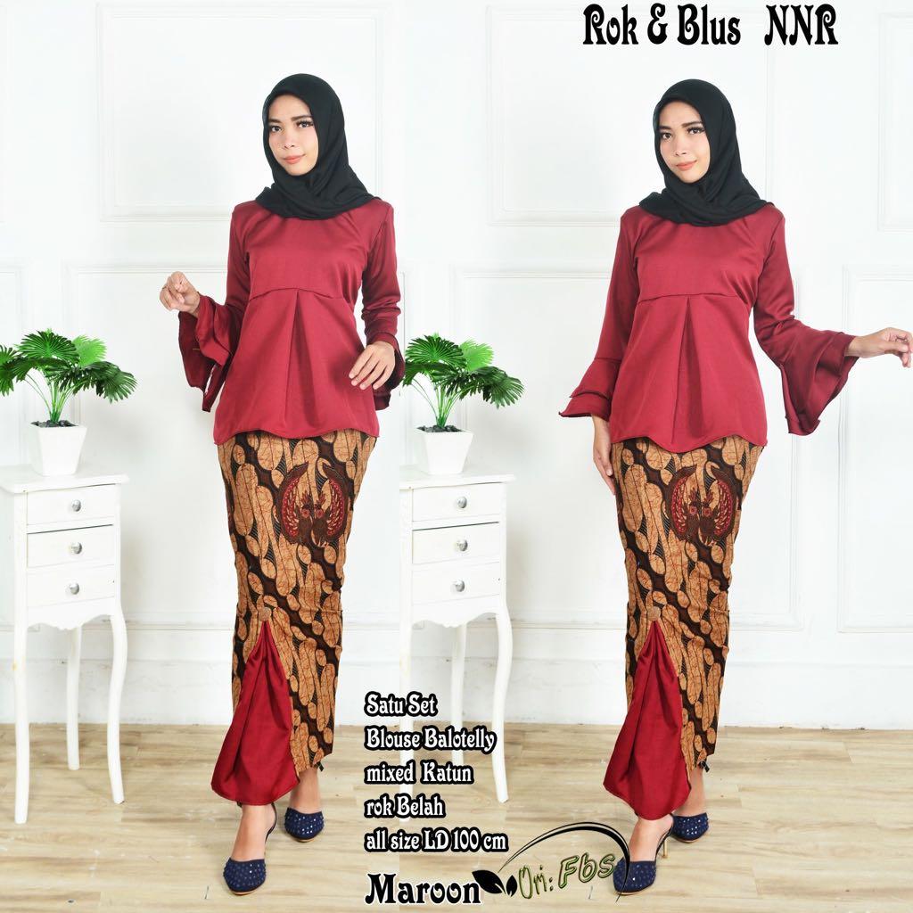 Model Blus Batik Lengan Lonceng