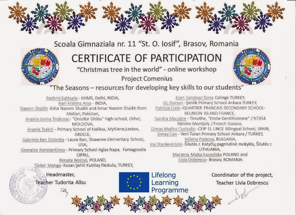 Participation Certificate- Christmas Tree making activity KHMS