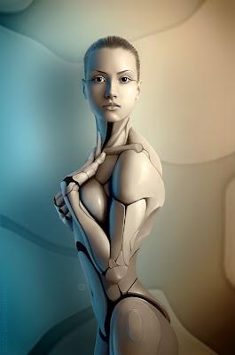 Mujer robot bonita